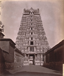 East face of the gopura at the entrance to fourth court of the Ranganatha Temple, Srirangam